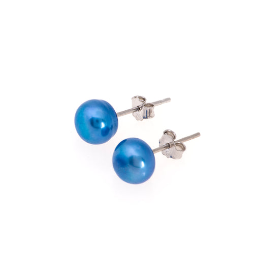 Pearl studs, pearl earrings, natural, blue, royal, teal, blue pearls, bridesmaid gifts, bat mitzvah, J Crew, Mikimoto, natural pearls, dyed pearls, colored pearls