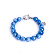 Load image into Gallery viewer, Hazel & Marie: Cultured Pearl bracelet large blue pearls