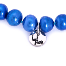 Load image into Gallery viewer, Hazel & Marie: Cultured Pearl bracelet large blue pearls with tag