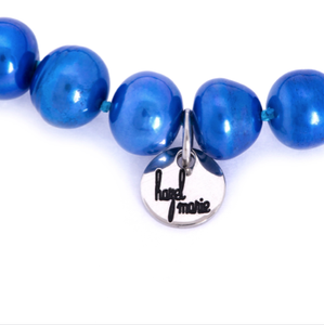 Hazel & Marie: Cultured Pearl Betty Large Size Pearl Necklace in Blue
