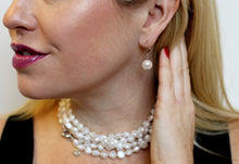 Load image into Gallery viewer, Hazel & Marie: Cultured Pearl earrings on sterling silver in blue on model
