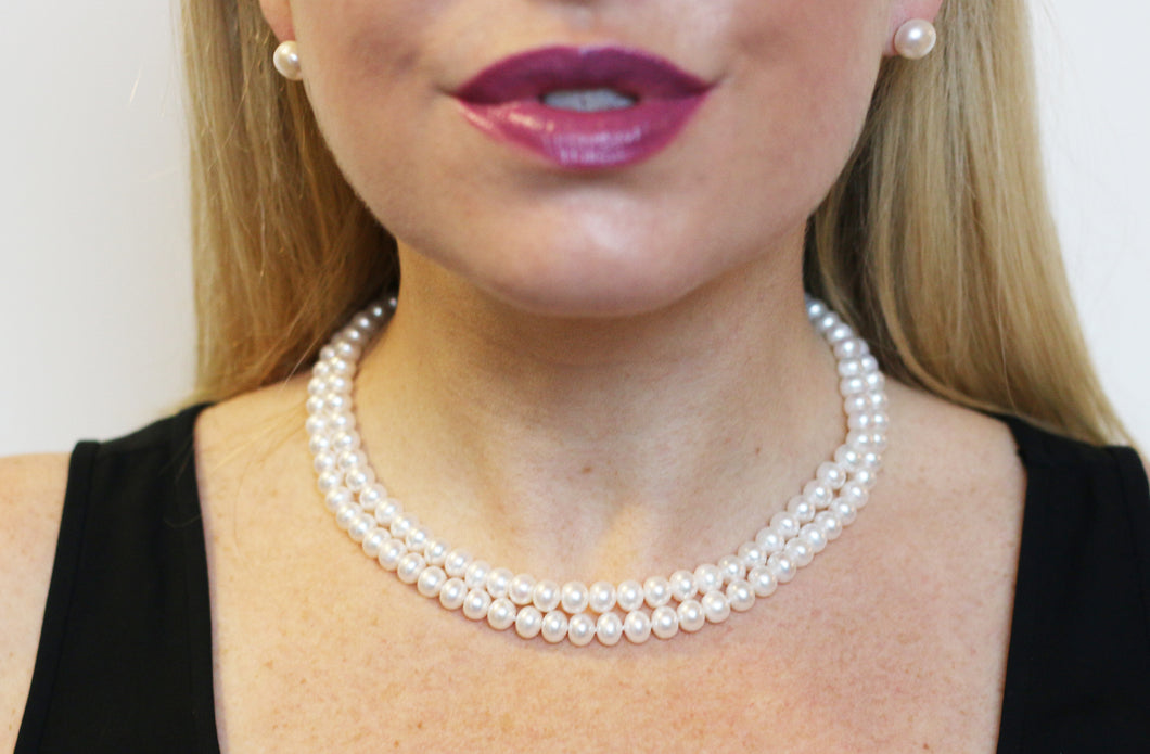 Hazel & Marie: AA quality cultured pearl necklace with two strands