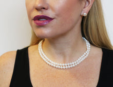 Load image into Gallery viewer, Hazel & Marie: AA quality cultured pearl necklace with two strands