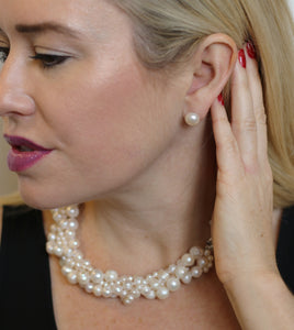 Hazel & Marie: Cultured Pearl large stud earrings on model