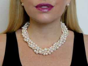 Hazel & Marie: Cultured Pearl necklace twisted in natural color on model