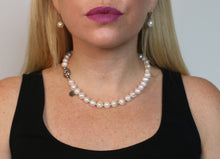 Load image into Gallery viewer, Hazel & Marie: Cultured Pearl Betty Large Size Pearl Necklace on model