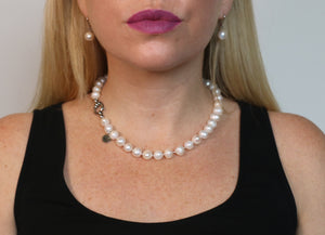 Hazel & Marie: Cultured Pearl Betty Large Size Pearl Necklace on model