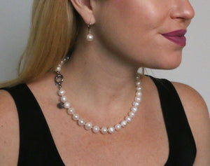 Hazel & Marie: Cultured Pearl Betty Large Size Pearl Necklace on model side