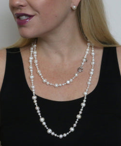 Gatsby Pearl Necklace in Pewter