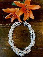 Load image into Gallery viewer, Hazel & Marie: Cultured Pearl necklace 3 strands twisted in natural color