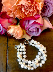 Hazel & Marie: Cultured Pearl bracelet twisted in natural with rose