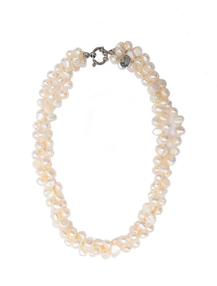 Hazel & Marie: Cultured Pearl necklace twisted in natural color