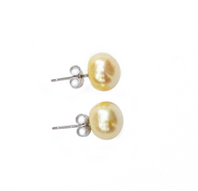 Load image into Gallery viewer, Hazel & Marie: Cultured Pearl large stud earrings in lemonade on side
