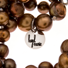 Load image into Gallery viewer, Hazel & Marie: Cultured Pearl necklace, 5 strand twisted in gold color zoom