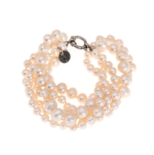 Load image into Gallery viewer, Hazel & Marie: Cultured Pearl bracelet with 5 strand twisted in natural