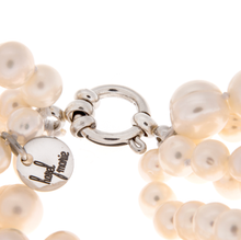Load image into Gallery viewer, Hazel & Marie: Zoomed in Cultured Pearl necklace tag and stainless steel clasp