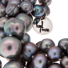 Load image into Gallery viewer, Hazel & Marie: Cultured Pearl bracelet with 5 strand twisted in slate color with tag