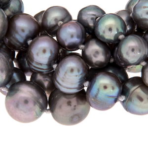 Hazel & Marie: Zoom of Cultured Pearl necklace clasp and tag in slate color