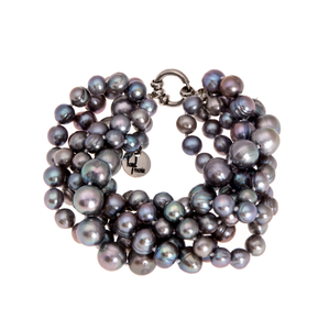 Hazel & Marie: Cultured Pearl bracelet with 5 strand twisted in slate color