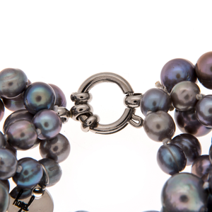 Hazel & Marie: Cultured Pearl necklace clasp and tag in slate color