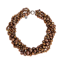 Load image into Gallery viewer, Hazel & Marie: Cultured Pearl necklace, 5 strand twisted in gold color