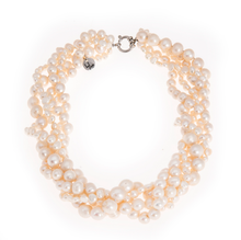 Load image into Gallery viewer, Hazel & Marie: Cultured Pearl necklace twisted in natural color