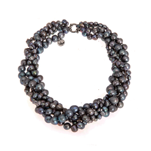 Load image into Gallery viewer, Hazel & Marie: Cultured Pearl necklace twisted in slate color
