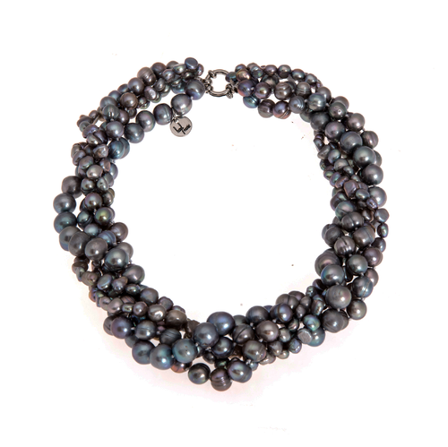 Hazel & Marie: Cultured Pearl necklace twisted in slate color