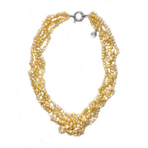 Tie the Knot Pearl Necklace in Lemonade