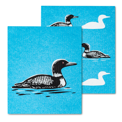 Amazing Swedish Dishcloth with the Loon Design