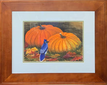 "Load image into Gallery viewer, ""Blue Jay and Pumpkins"" - Kim McBride"