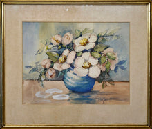 "Load image into Gallery viewer, ""Magnolia Blossoms in Blue Vase"" by Helen Everett"