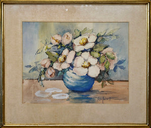 """Magnolia Blossoms in Blue Vase"" by Helen Everett"