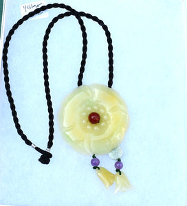 Yellow Carved Flower Pendant Necklace