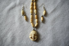 Load image into Gallery viewer, Ho Tai (Laughing Buddha) Bone/Sterling Necklace & Earring Set