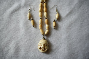 Ho Tai (Laughing Buddha) Bone/Sterling Necklace & Earring Set