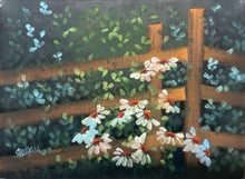 "Load image into Gallery viewer, ""Daisies by Fence"" -  Carol Yada"