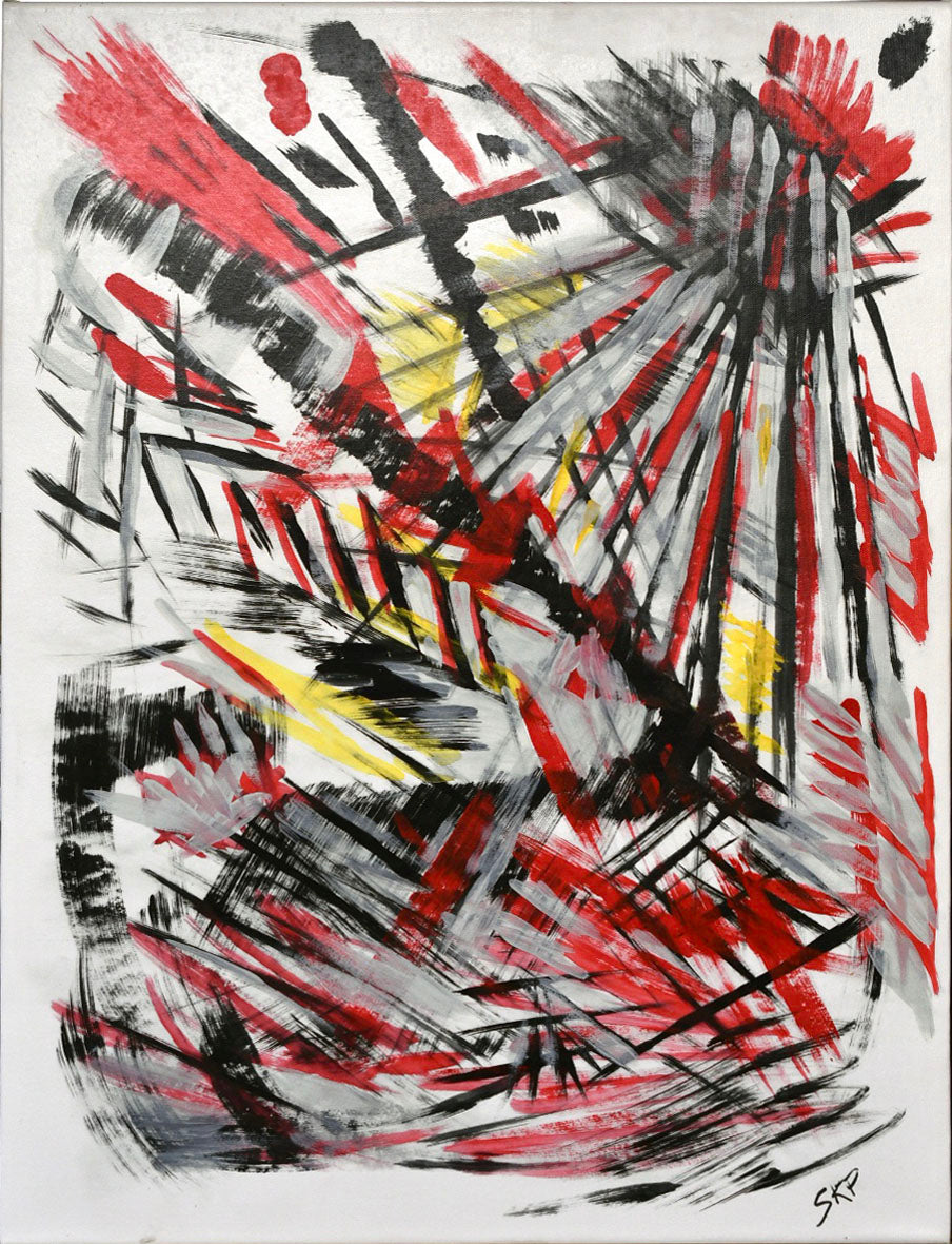 Abstract Red & Black Acrylic on Canvas - SKP