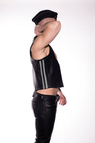 Side Stripe Leather Vest (4823822041226)