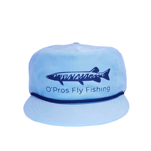 Musky 5 Panel Snapback Light Blue| O'Pros Fly Fishing