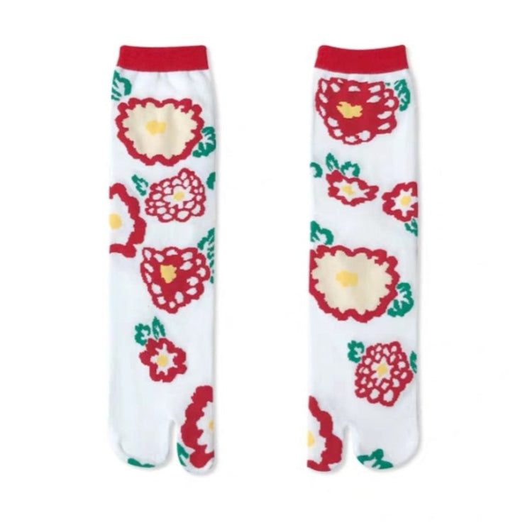 Japanese Tabi Socks 【Big Red Flowers】 - Getamashi