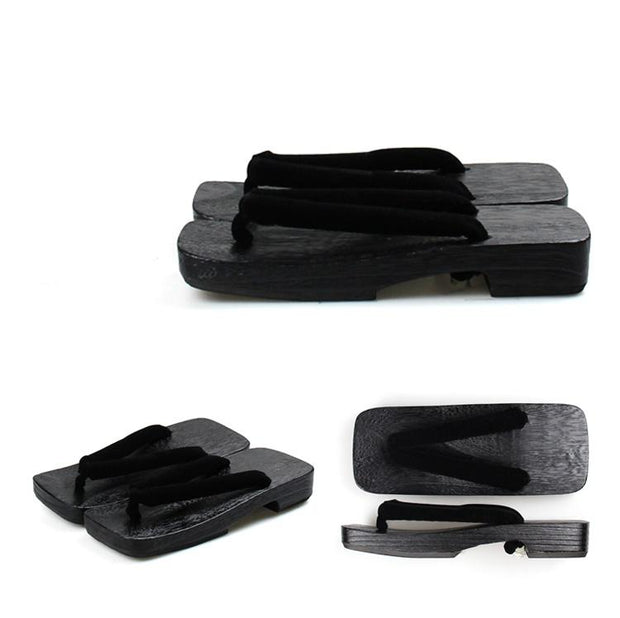 Men's Geta Shoes 【Simple Black】 - Getamashi