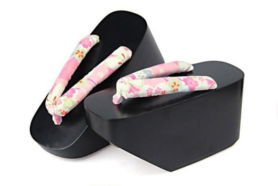 Black Geisha Shoes 【Pink Sakura】