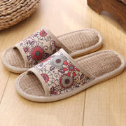Red Floral Linen Indoor Home Slippers
