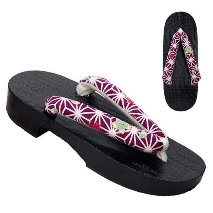 Women's Geta Sandals 【Purple Net】 - Getamashi