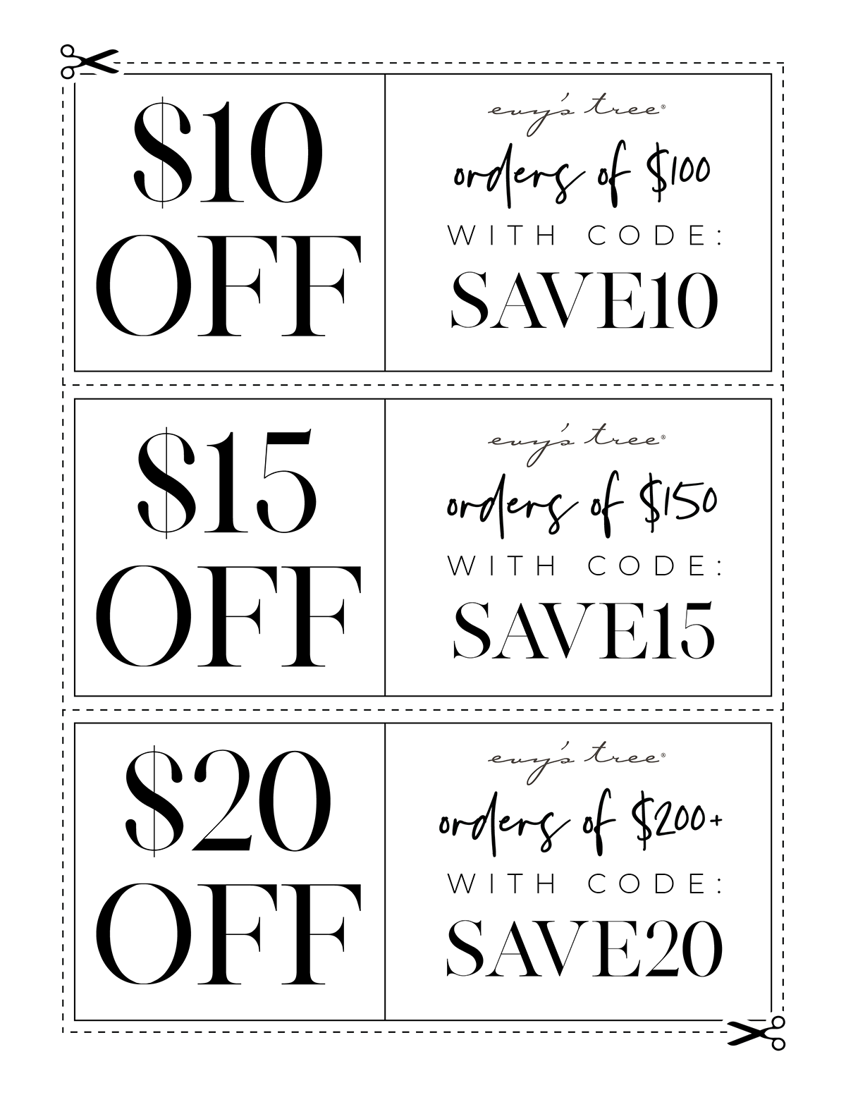$10 off $100 spent with code SAVE10, $15 off $150 spent with code SAVE15, $20 off $200+ spent with code SAVE20