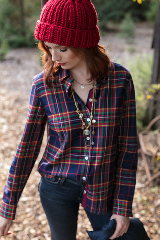 The Amy Shirt in Holiday Plaid