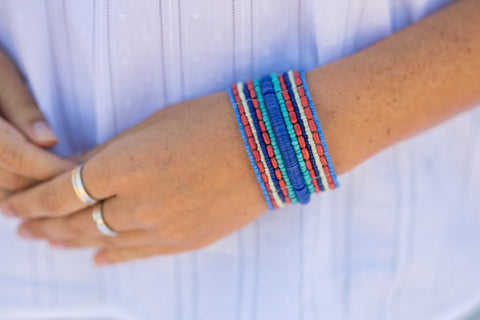 Blue and Red Beaded Bracelet