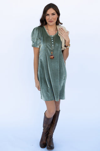 The Anna Dress in Sage Velvet