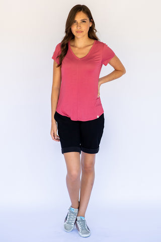 The V-Neck Tee in Rose